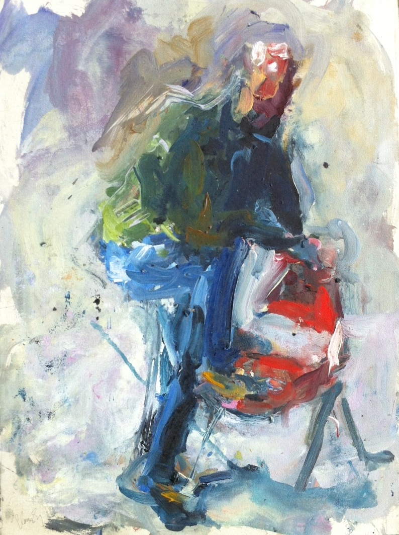 Doctor Bob with the Red Chair 30x22 oil/paper