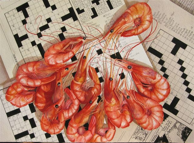"6-LETTER WORD FOR CRUSTACEAN- 22X30"" - watercolor"