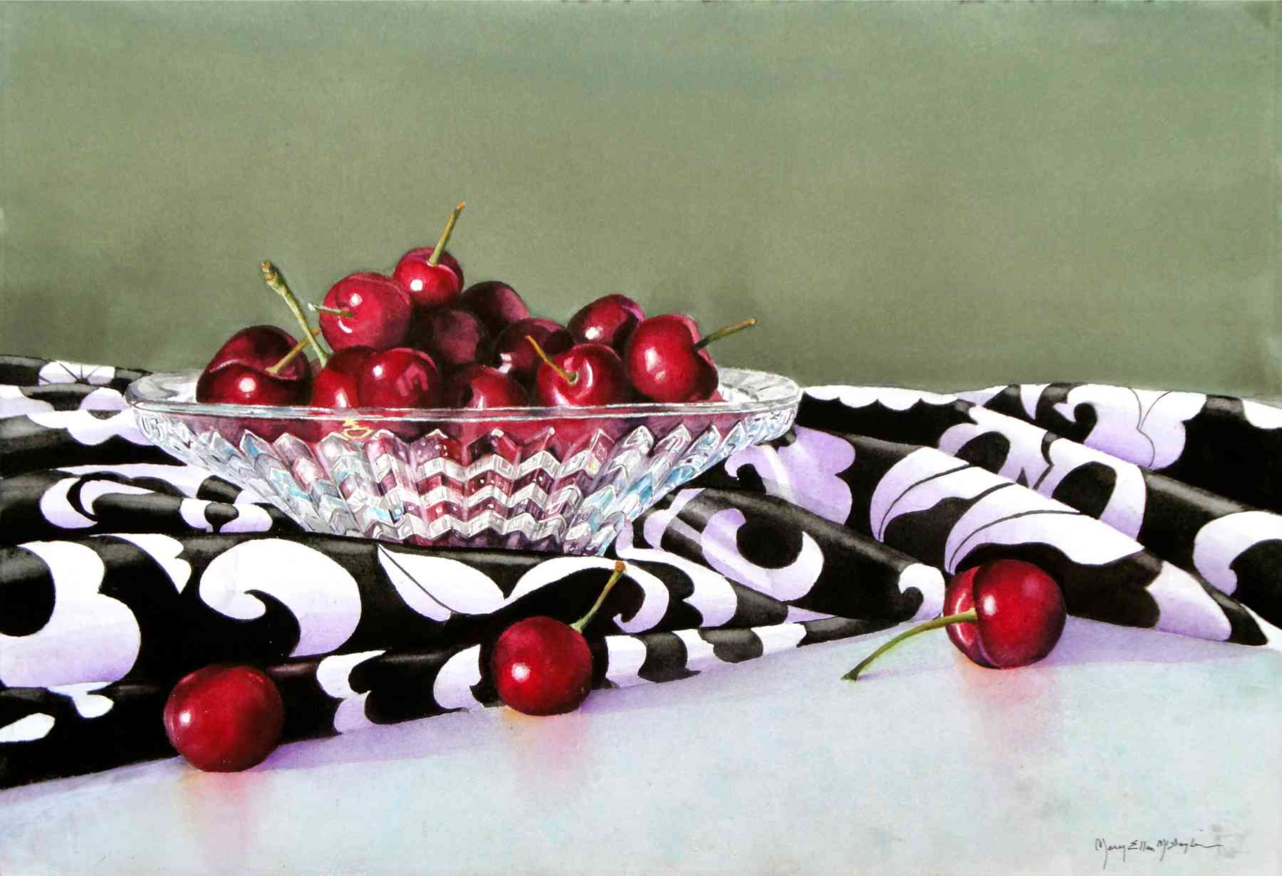 "CHERRIES JUBILEE II - 22x15"" - watercolor"