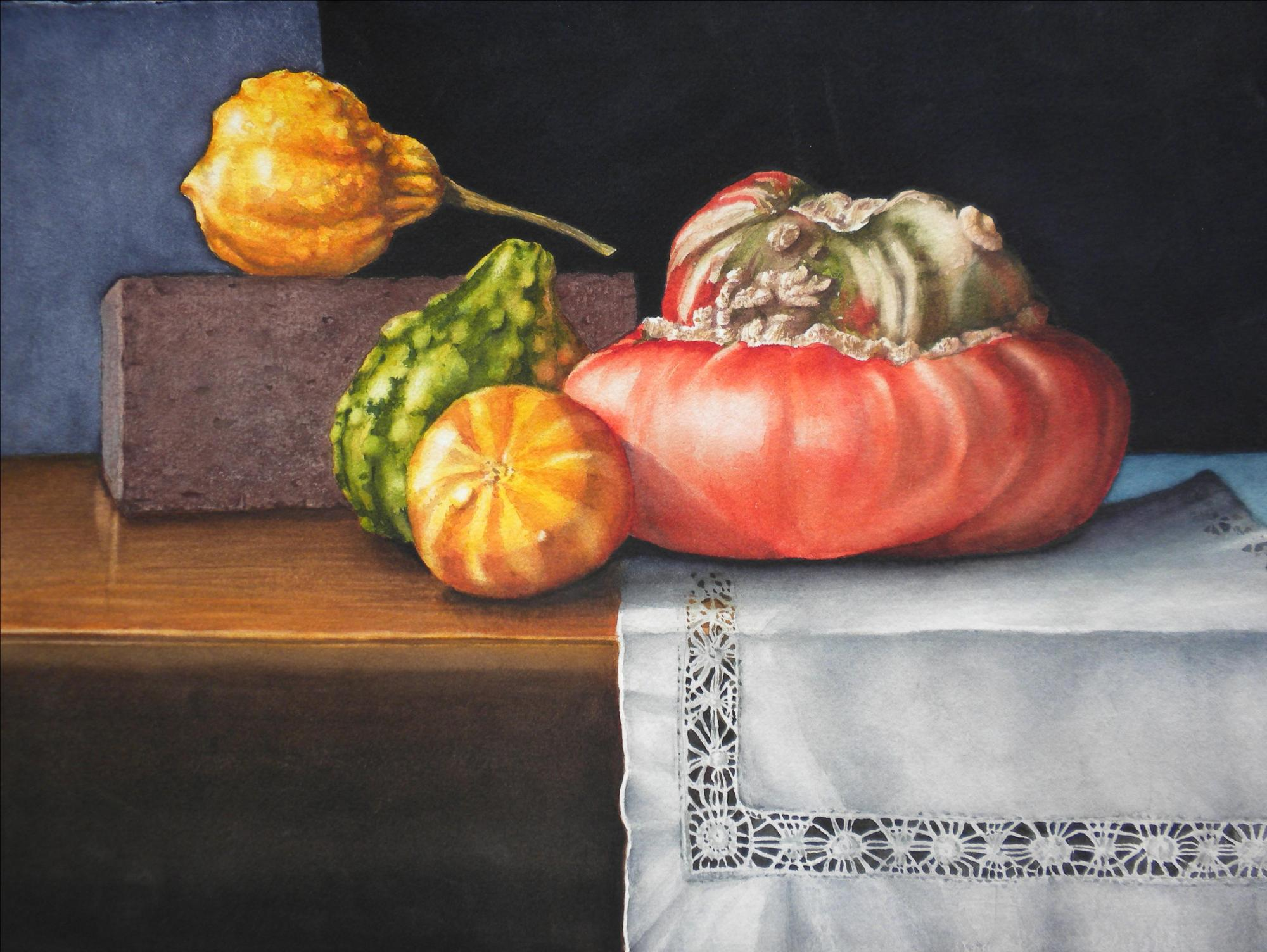 "GORGEOUS GOURDS - 22x15"" - watercolor"