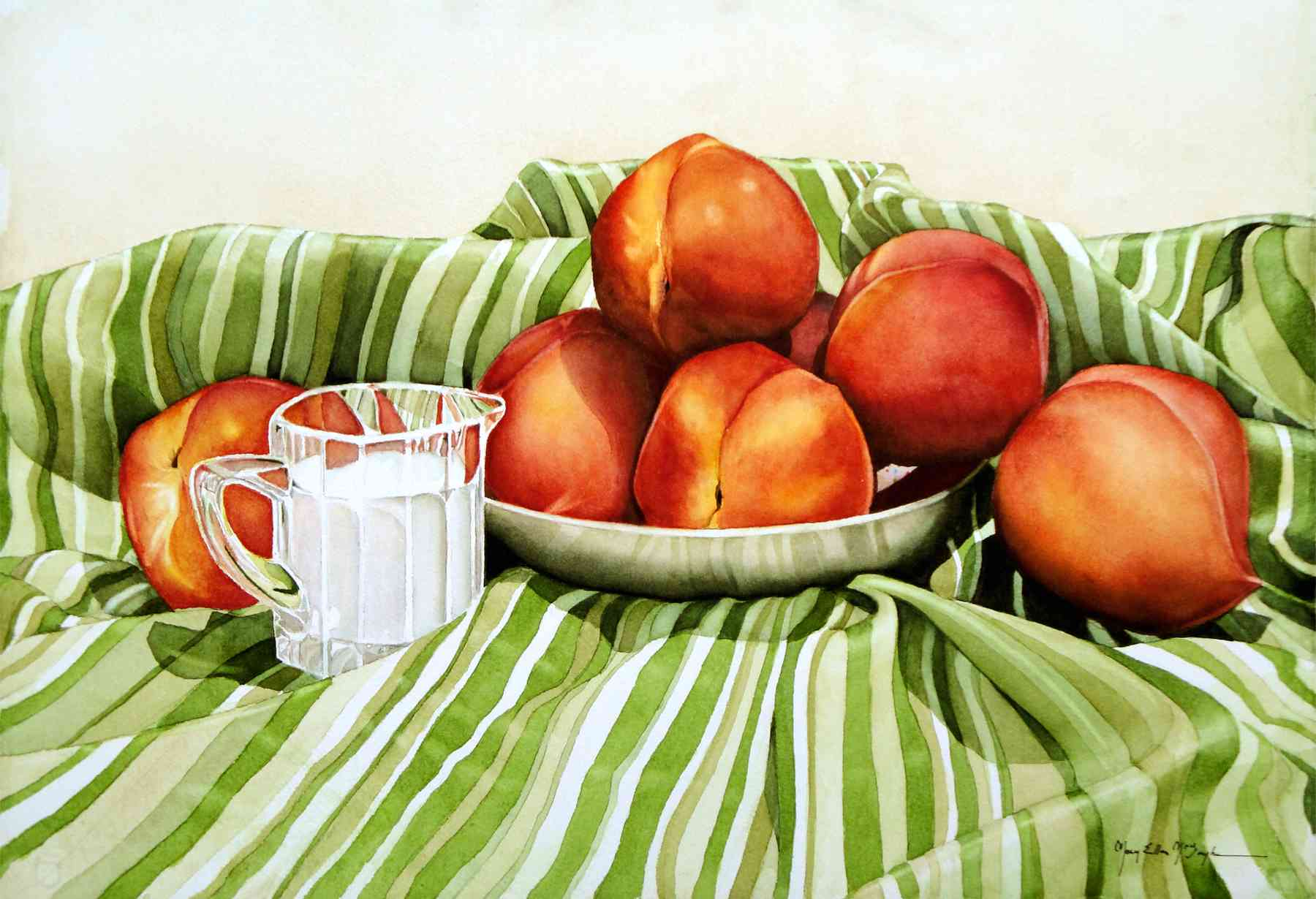 "GEORGIA PEACHES & CREAM - 22x15"" - watercolor"