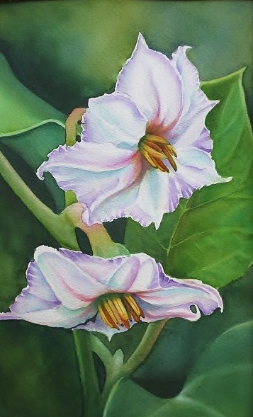 "EGGPLANT BLOSSOM - 9x12"" - watercolor"