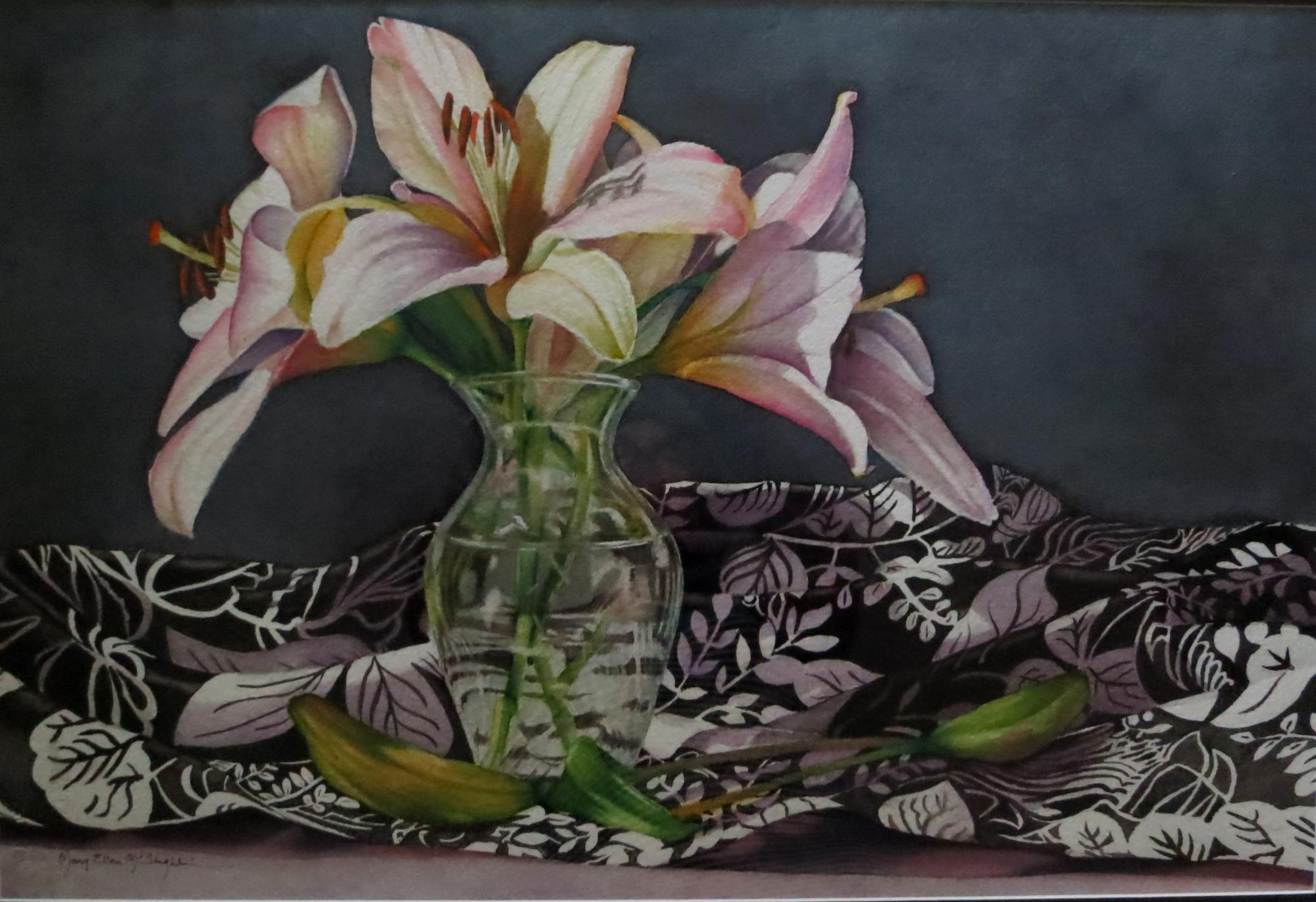 "STILL LIFE WITH LILIES - 15x22"" - watercolor"