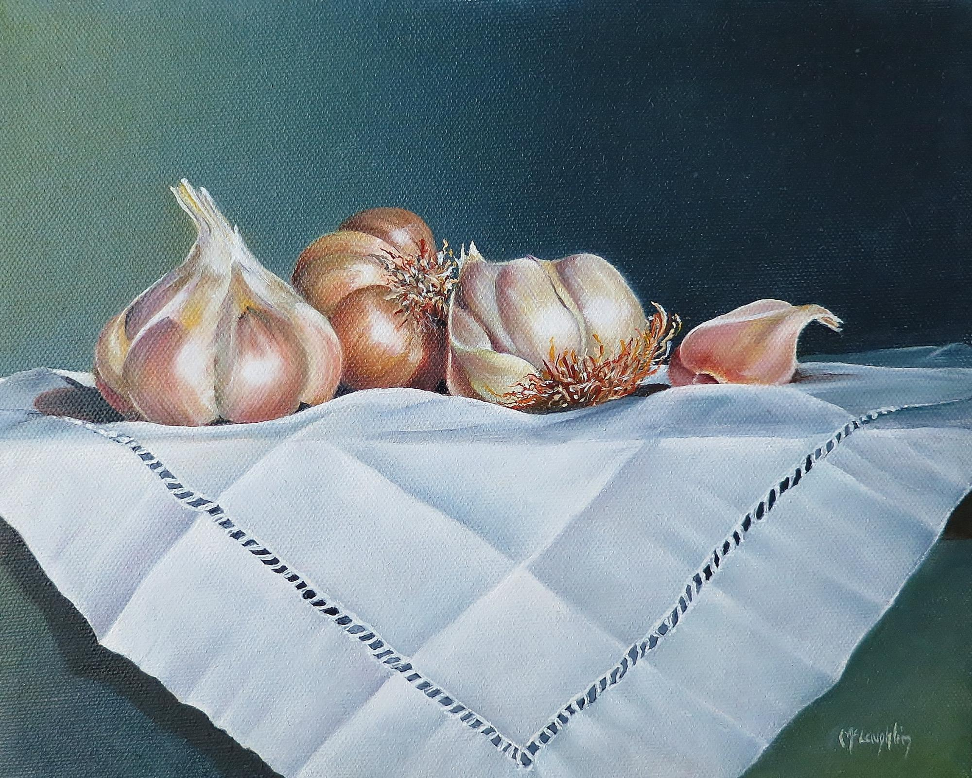 "GARLIC GROUP - oil - 8x10"" - $295"