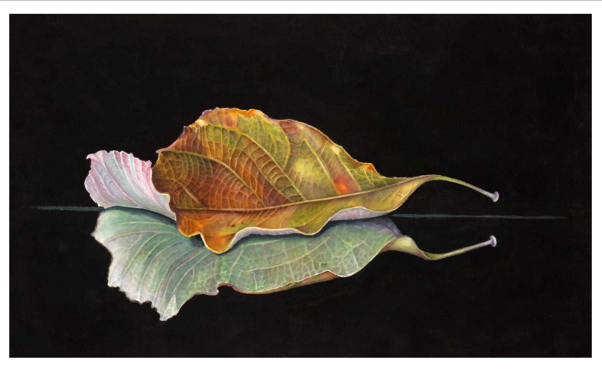 "LEAF ALONE - 22x13"" - watercolor"