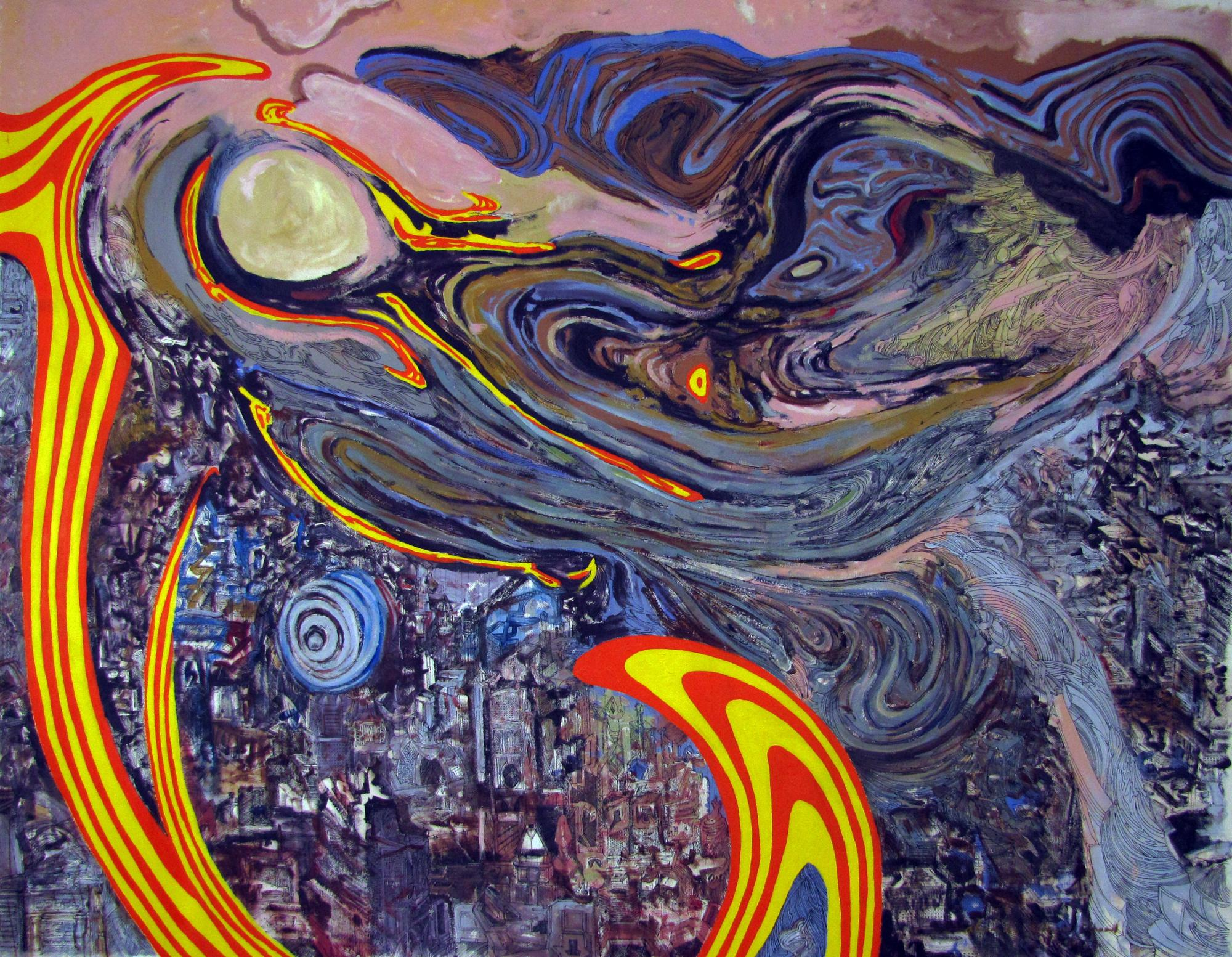 "Andromeda. Mixed media on canvas 101 "" x 76"". 2014"