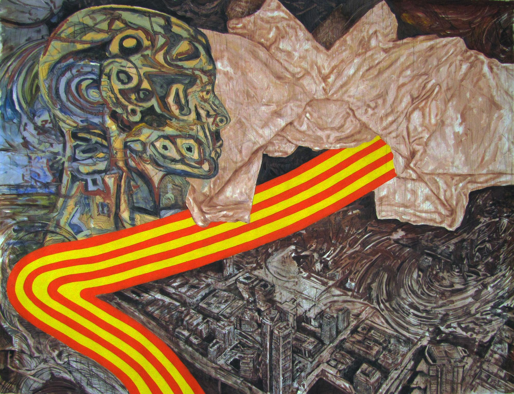 "Ceremonial Head. Mixed media on canvas 101 "" x 76"". 2015"