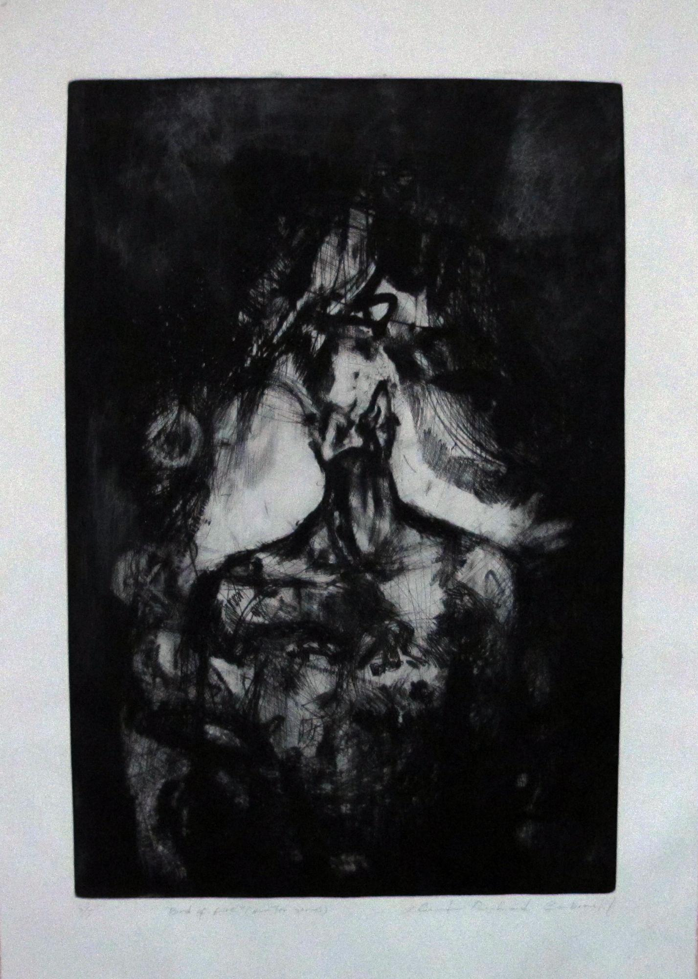 "Bird of Fire- ""Hunter""  Serie. Etching . 2015. 23x 34 inches"
