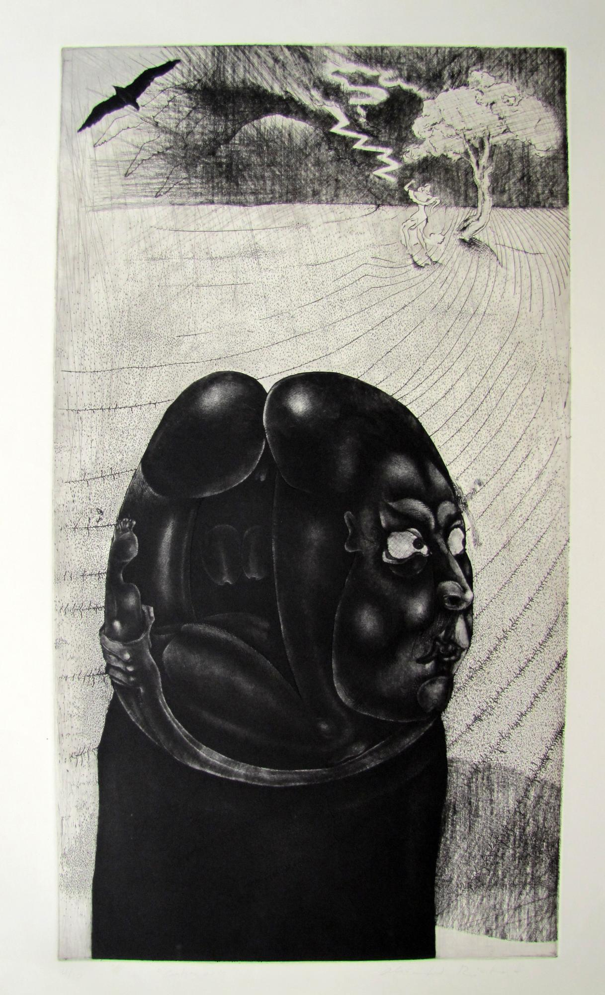 Cabeza.  Etching .1996. 19 x 33 inches