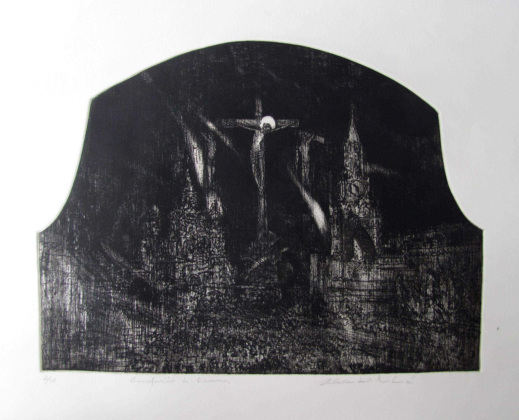 Crucifixion de invierno Etching .1995. 24 x 19 inches
