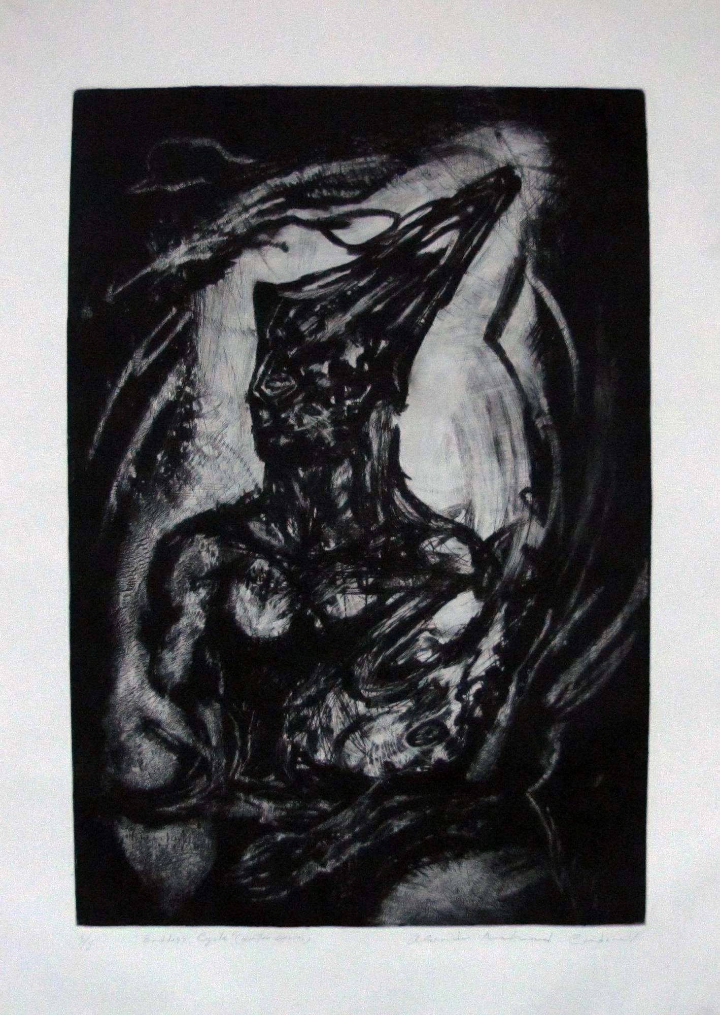 "Endless Cycle- ""Hunter""  Serie. Etching . 2015. 23x 34 inches"