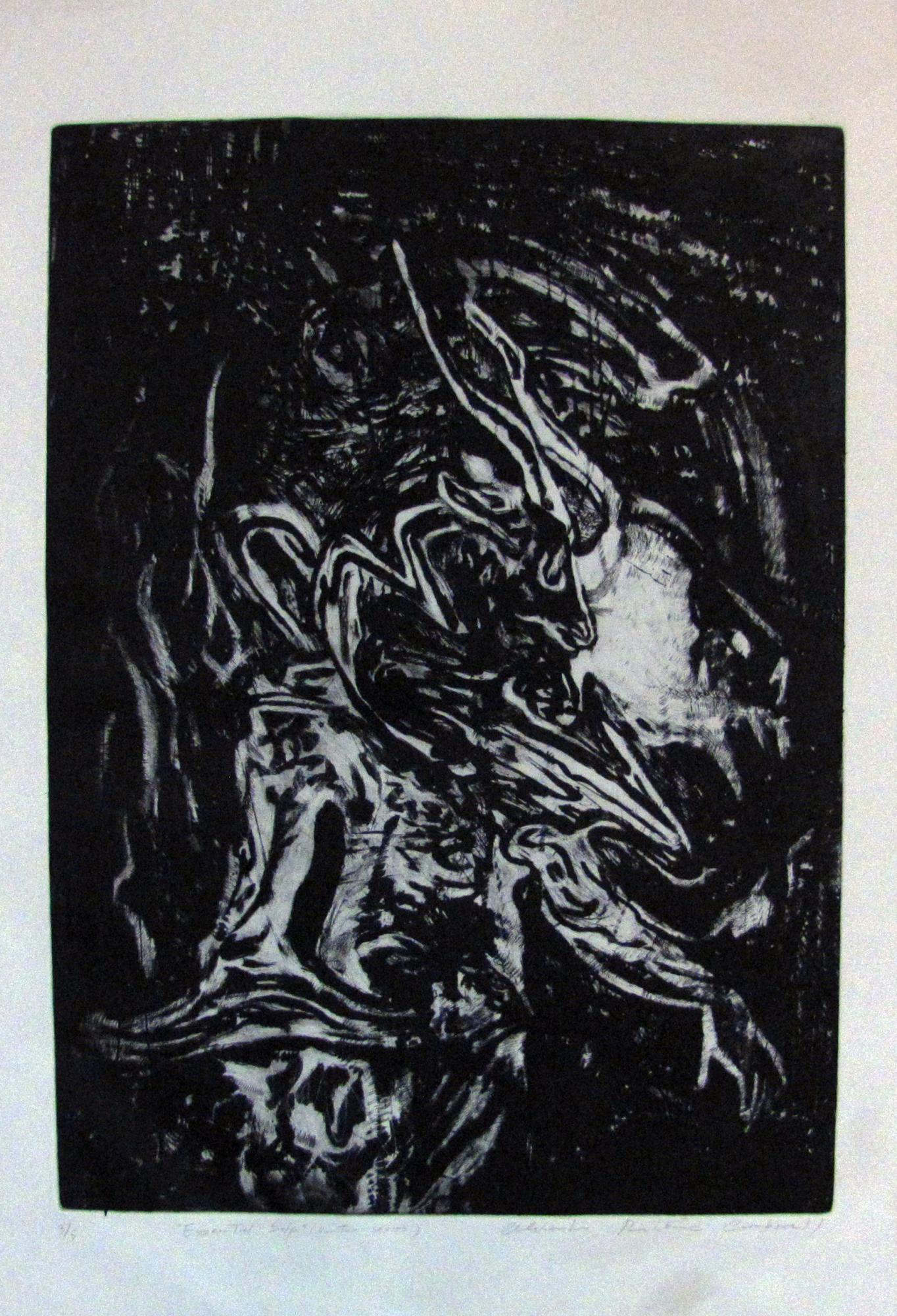 "Essential Self- ""Hunter""  Serie. Etching . 2015. 25x 34 inches"