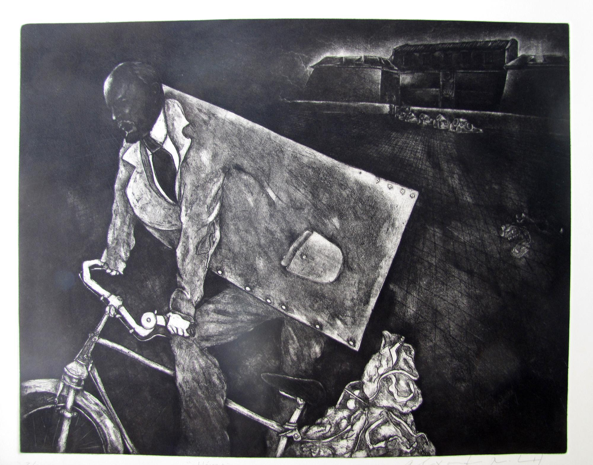 Heroe . Etching .1996. 24 x 19 inches