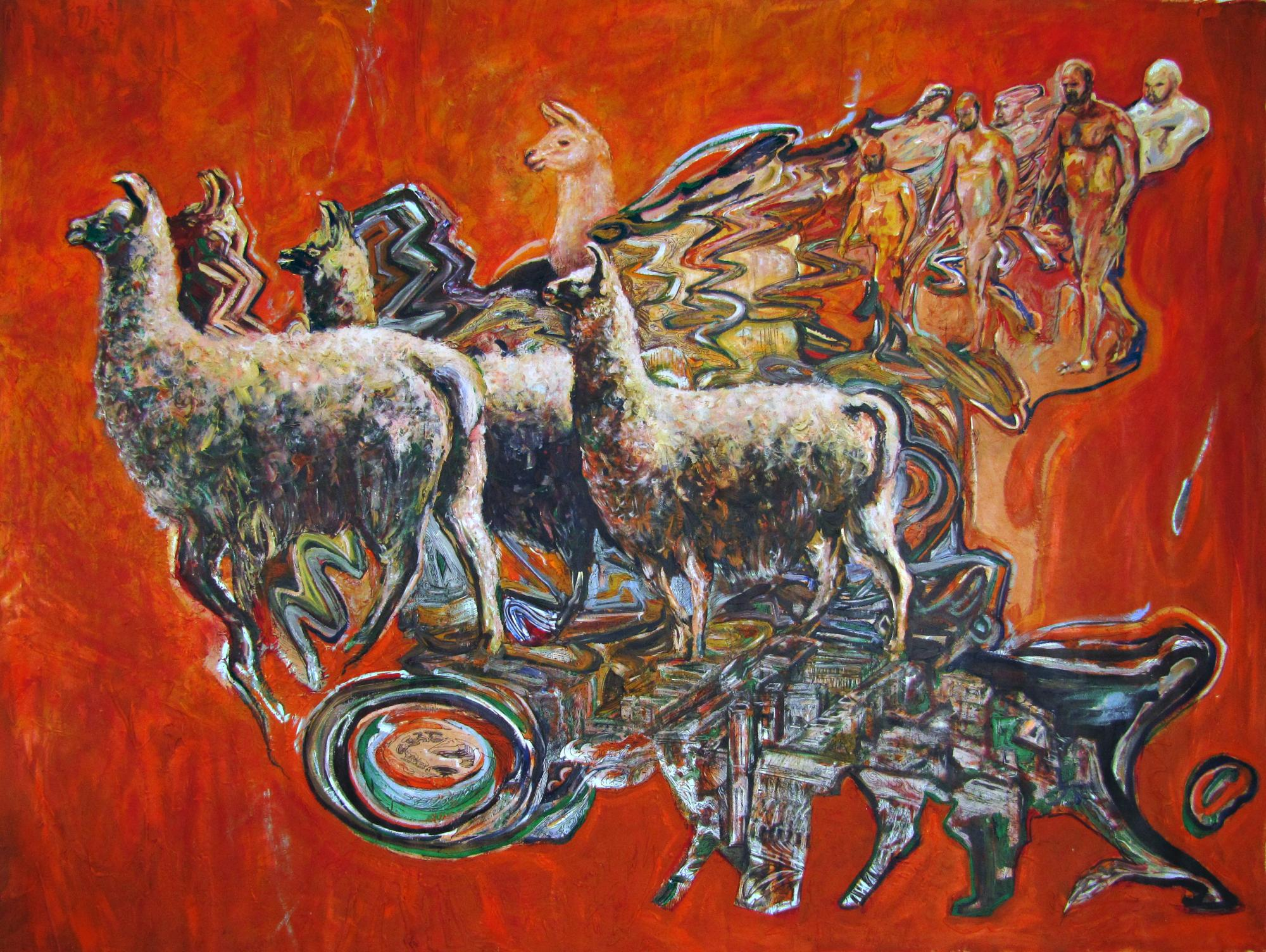 "Livestock. Mixed media on canvas 100 "" x 76"". 2015"