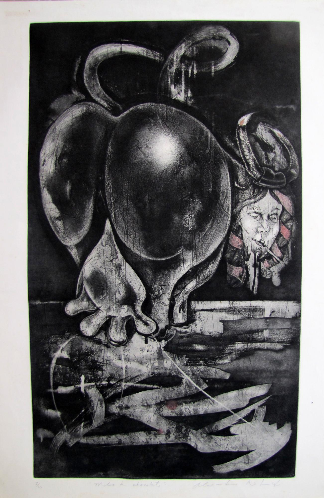 Molino de chocolate. Etching .1997. 19 x 33 inches