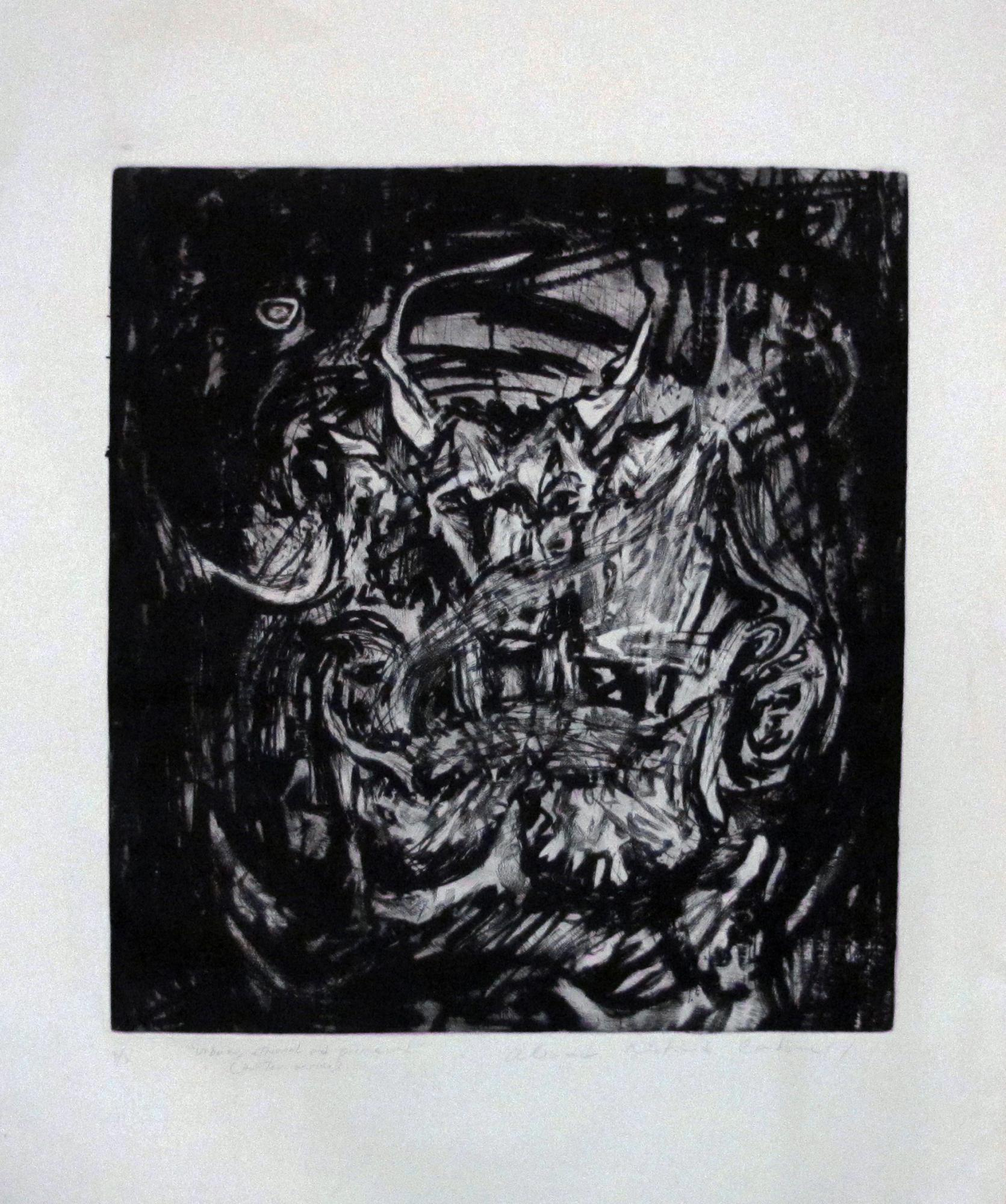 "Unborn, eternal and primeval- ""Hunter""  Serie. Etching . 2015. 24x 25 inches"