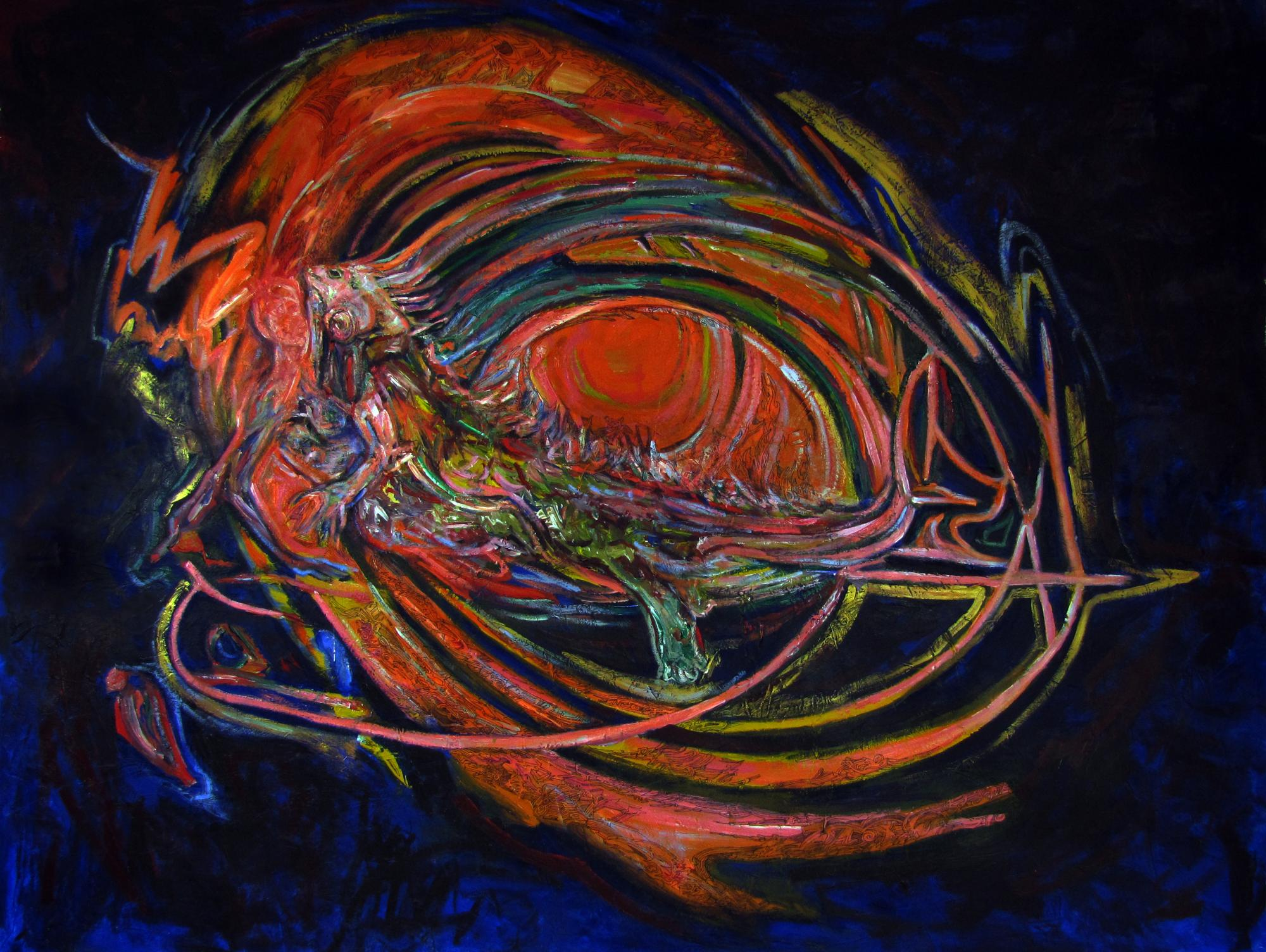 "Vortice ceremonial (ceremonial vortex ). Mixed media on canvas 100 "" x 76"". 2015"