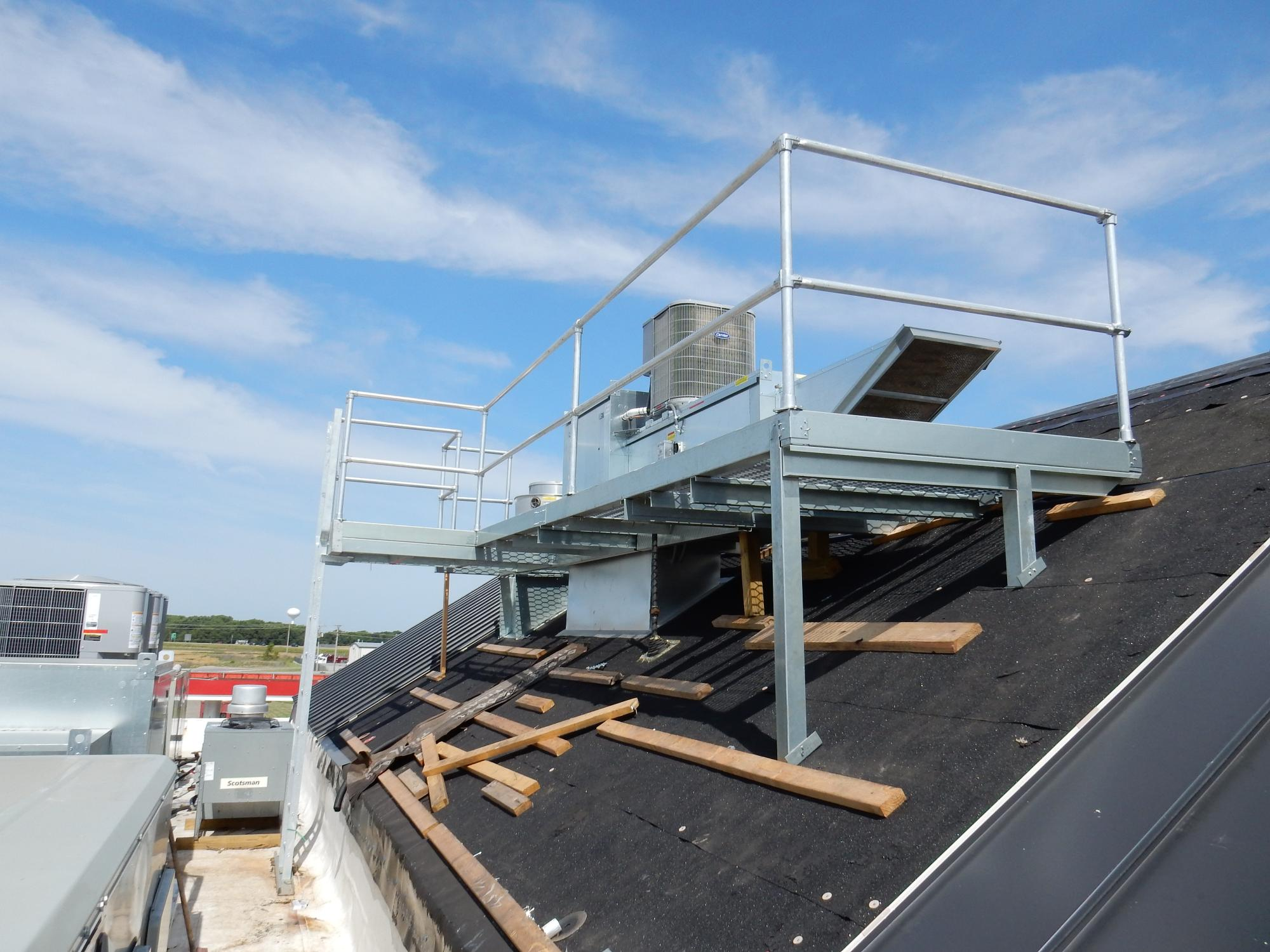 McIntire built frame for roof ac
