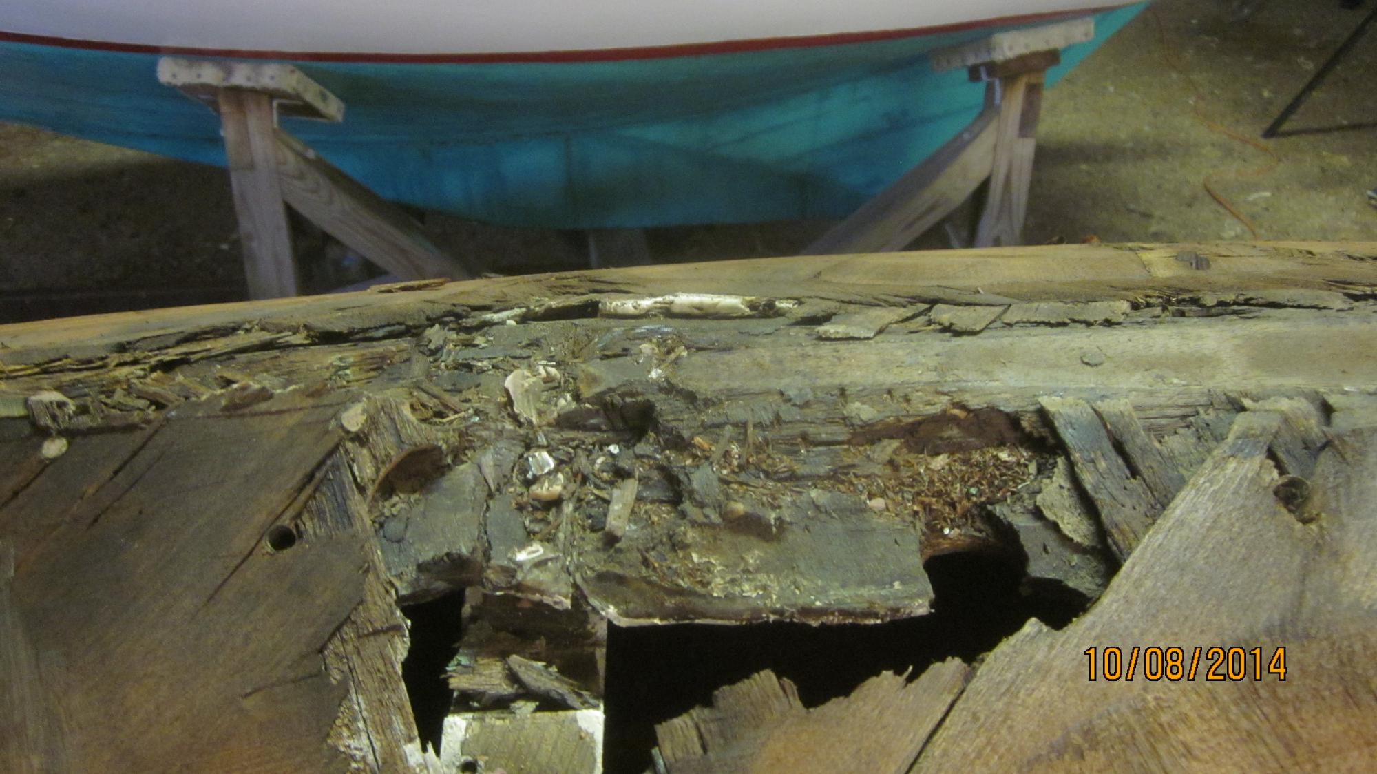Typical L-16 rot, not so typical broken in half keel batten