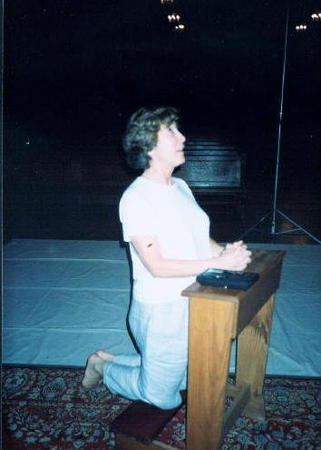 Robina, praying the bat wouldn't wake up and start singing again, during our nighttime recording session at Christian Brothers Chapel, Napa, California, 2001
