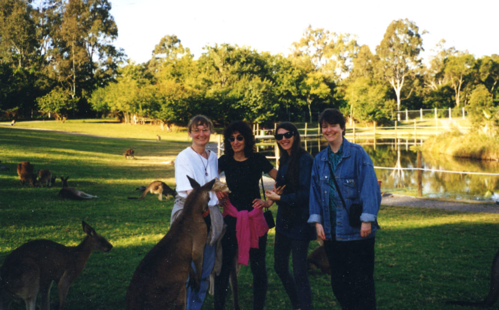 Feeding kangaroos at Lone Pine Koala sanctuary in Brisbane, Australia, c. 1997