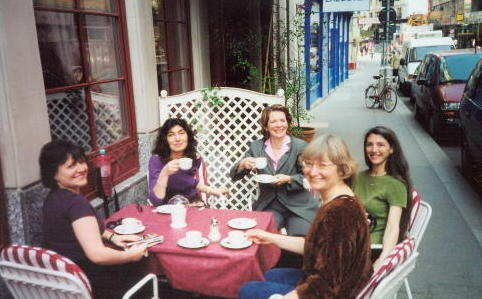"In Vienna for performances of Voices of Light, drinking kaffee ""melange"" with soprano Susan Narucki, c. 2002"