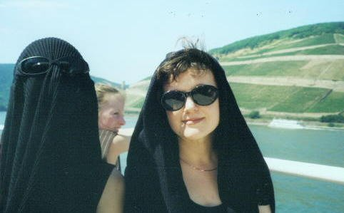 Two mysterious ladies on a rather toasty ride on the Rhine at Bingen.