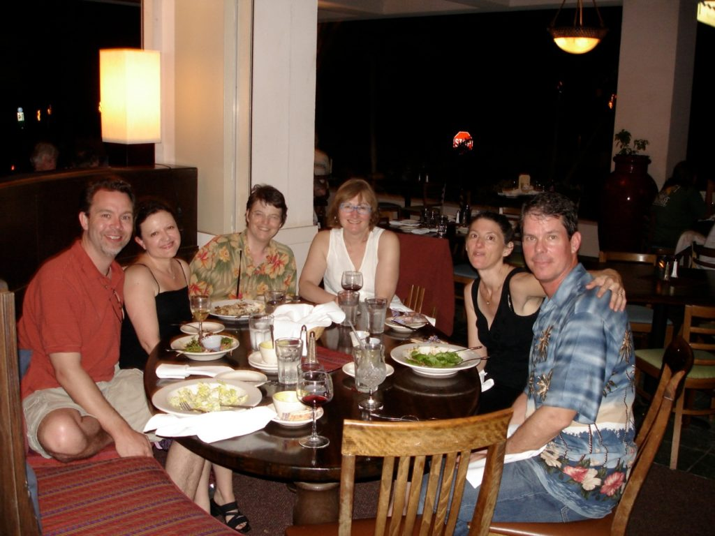 A4 plus two spouses having a night out on Maui, during our Hawaiian tour, 2008