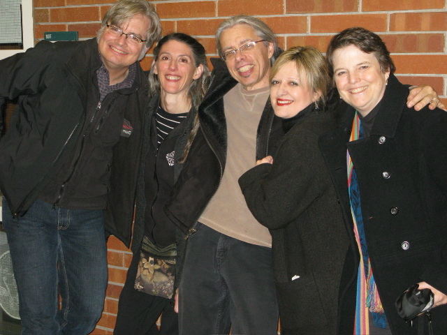 After a concert with Grammy-winning guitarist Scott Nygaard and newgrass fiddle star Darol Anger, during our Long Time Traveling tour, 2007–2009.