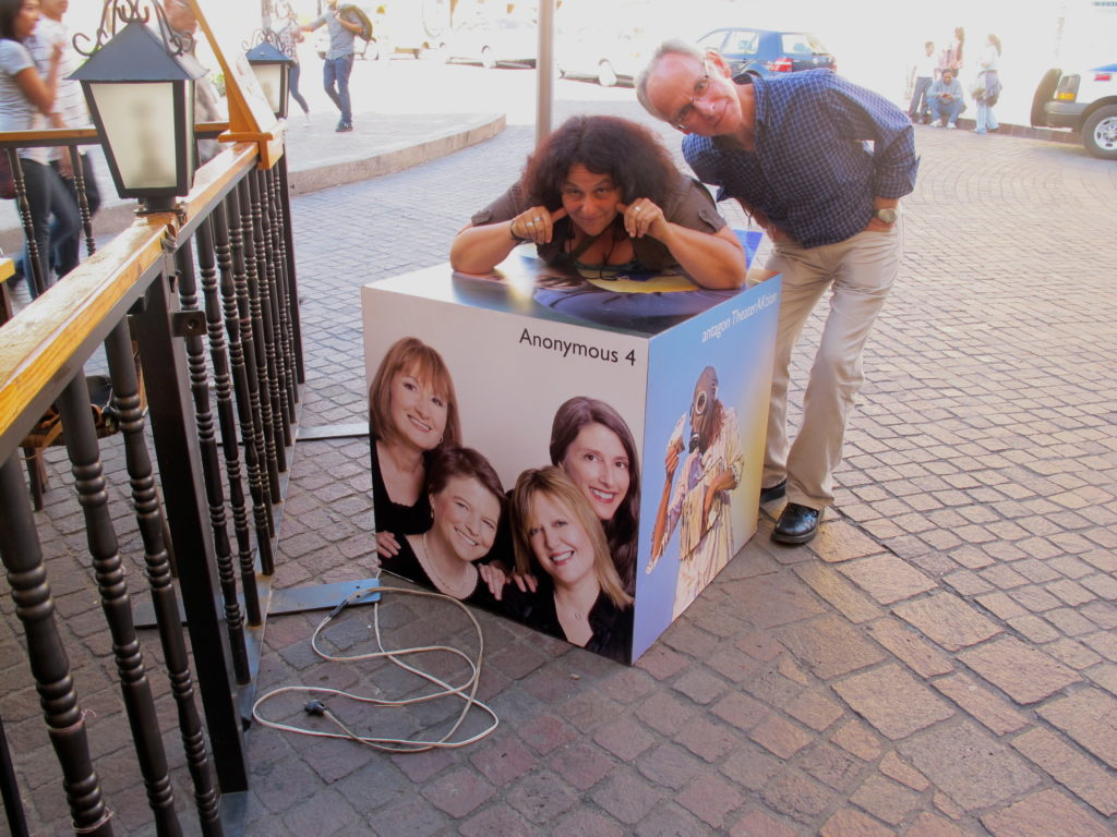 Shira Kammen, reigning vielle queen, and Peter Maund master percussion player, with Anonymous-4-on-a-box in Guanajuato, Mexico, on Secret Voices tour., 2011