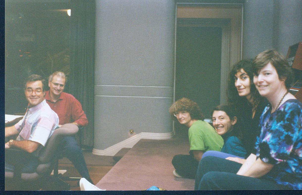 In the control room at Skywalker Ranch in fall 1991, with producer Steve Barnett and engineer Peter McGrath during recording sessions for An English Ladymass, the first of our many recordings for harmonia mundi usa.