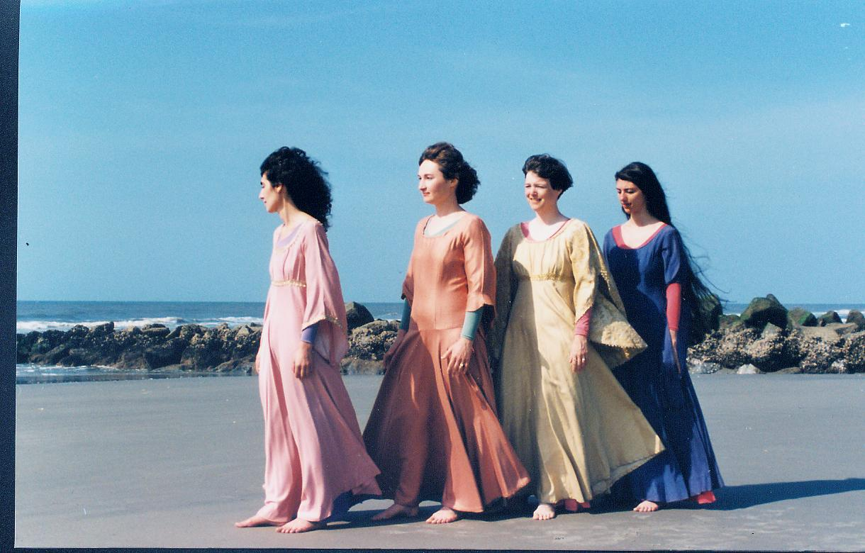 On Folly Beach, SC for Piccolo Spoleto festival concert, 1989. Johanna, Susan, Ruth, Marsha
