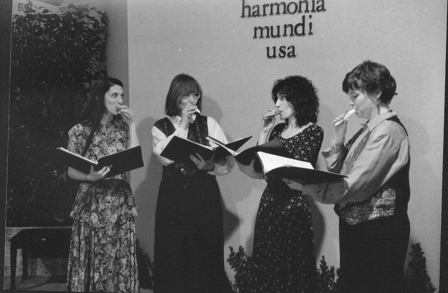 Celebrating with kazoos at the harmonia mundi usa offices c. 1994