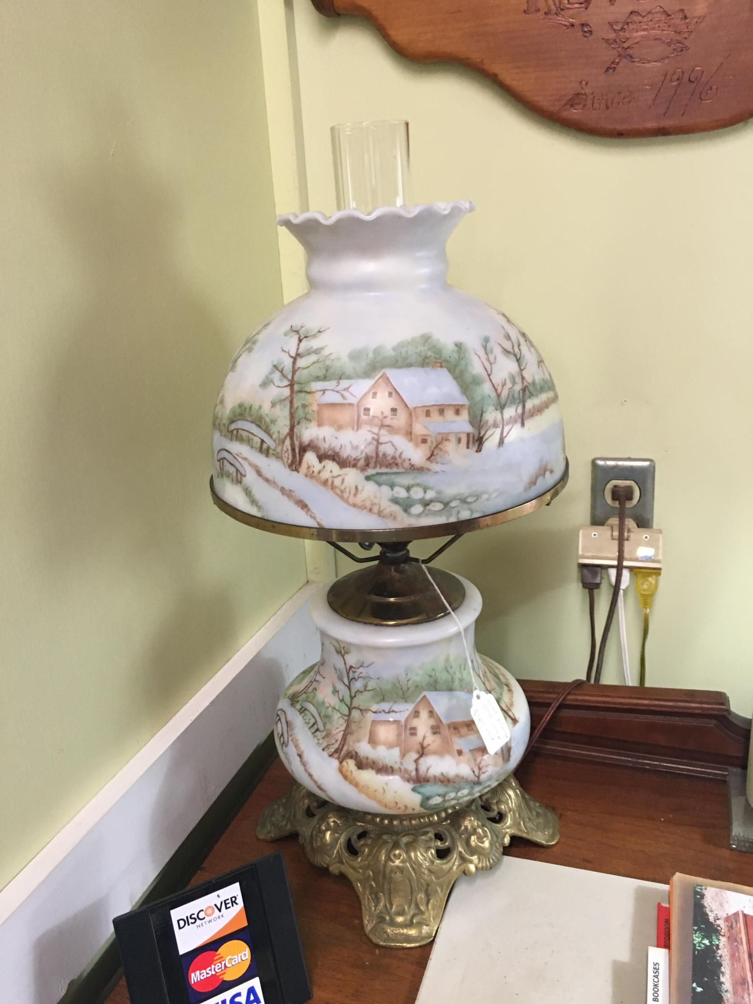 Hand Painted Parlor Lamp (GWW), has night light $185 plus tax