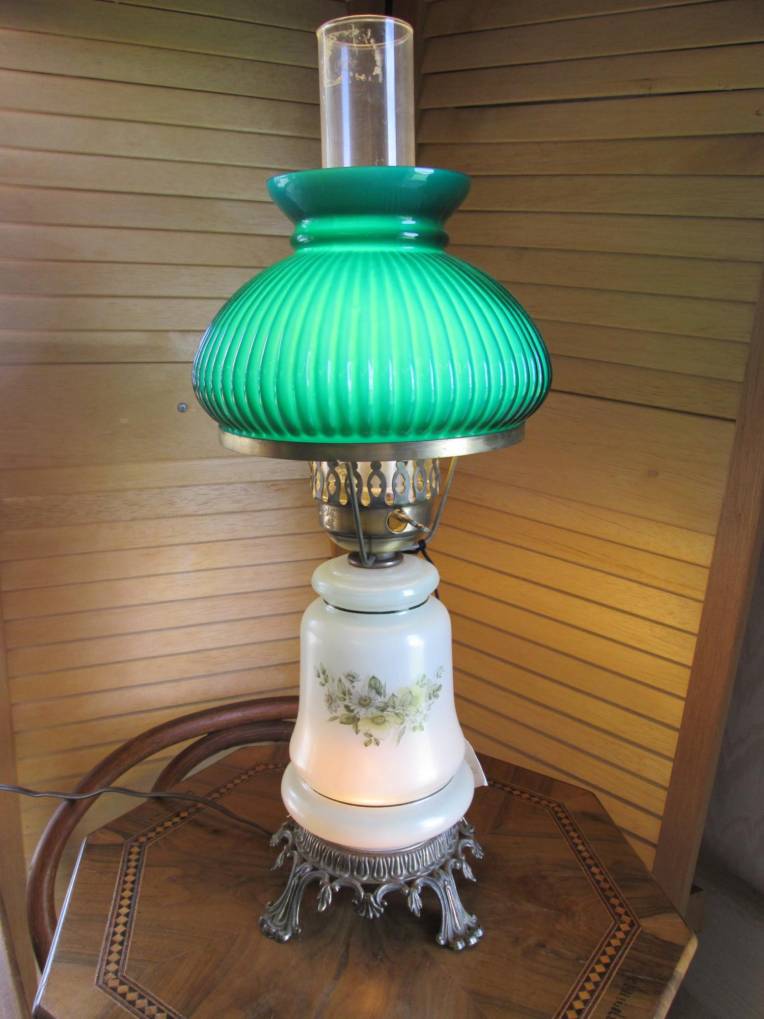 Electric Style Kerosene Lamp w/ Green Tinted Opal Glass Font, Green Painted Flowers w/ Gold Striping.
