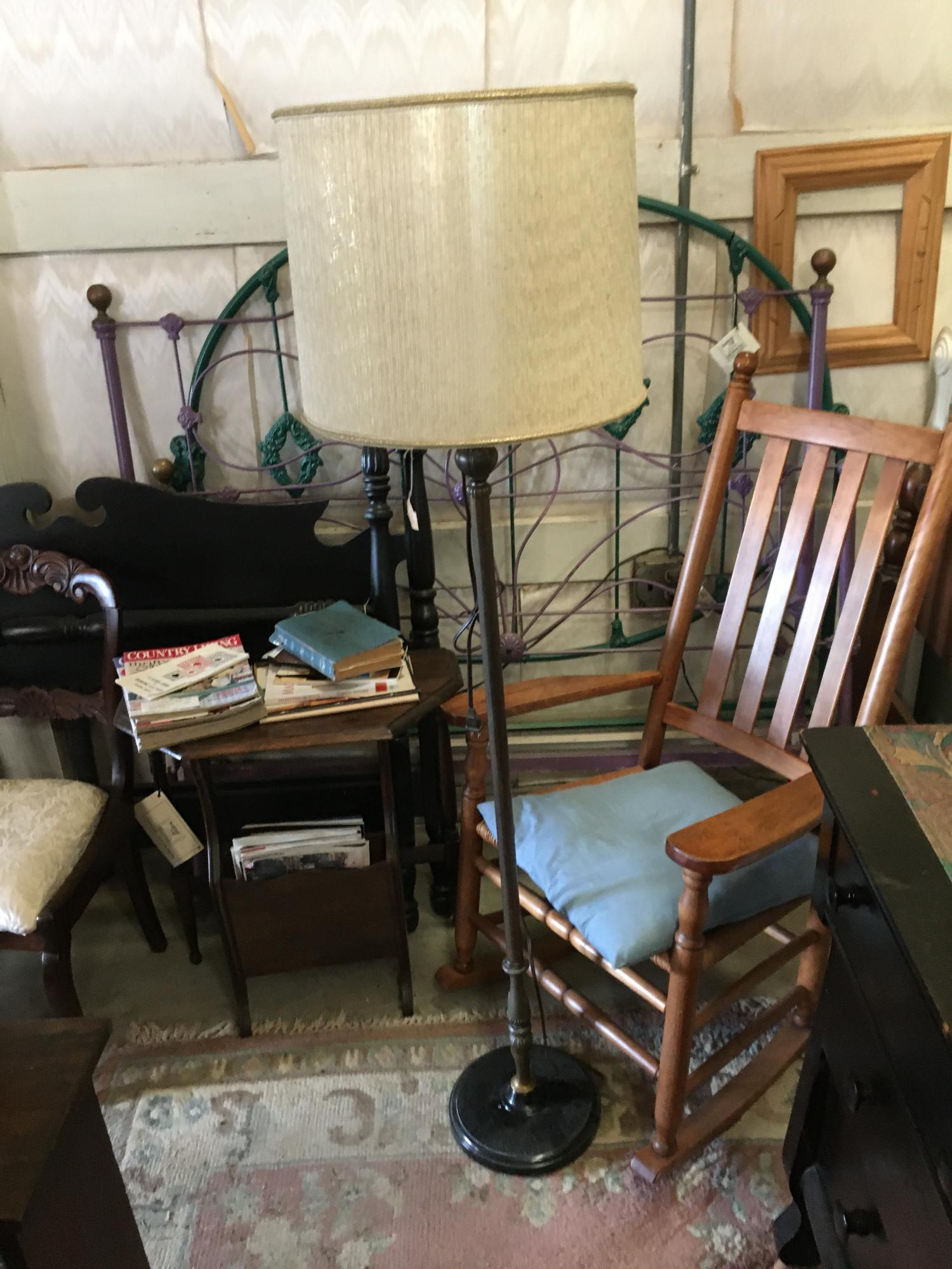 Brass Floor lamp w/ Shade, Black bottom $115 plus tax (shade included)