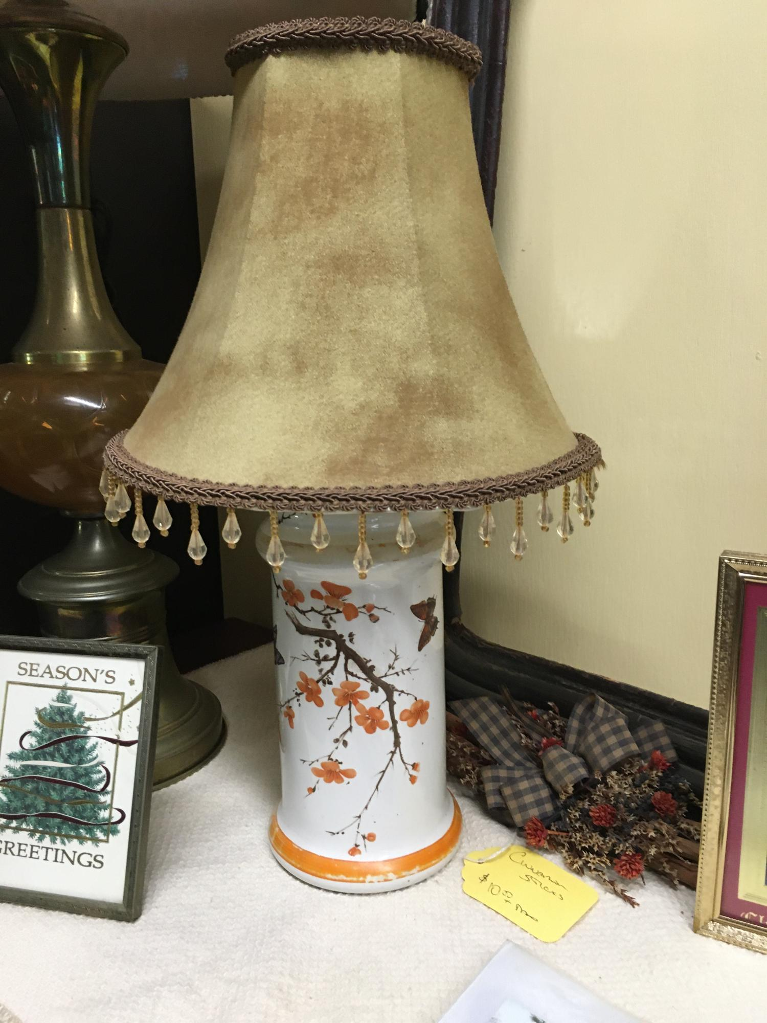 white and orange_butterfly lamp $20
