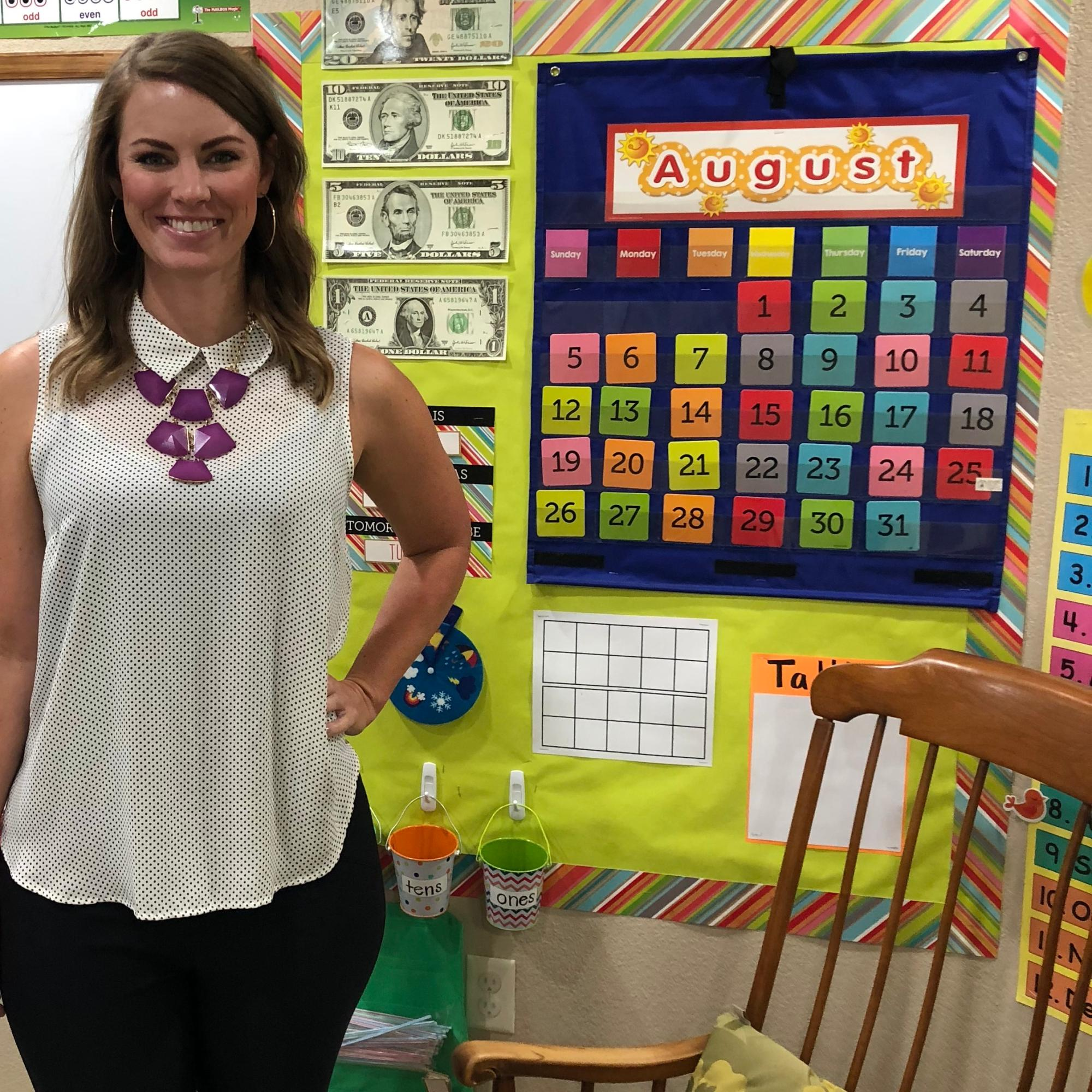 Miss Irick is ready for the 1st day of school.