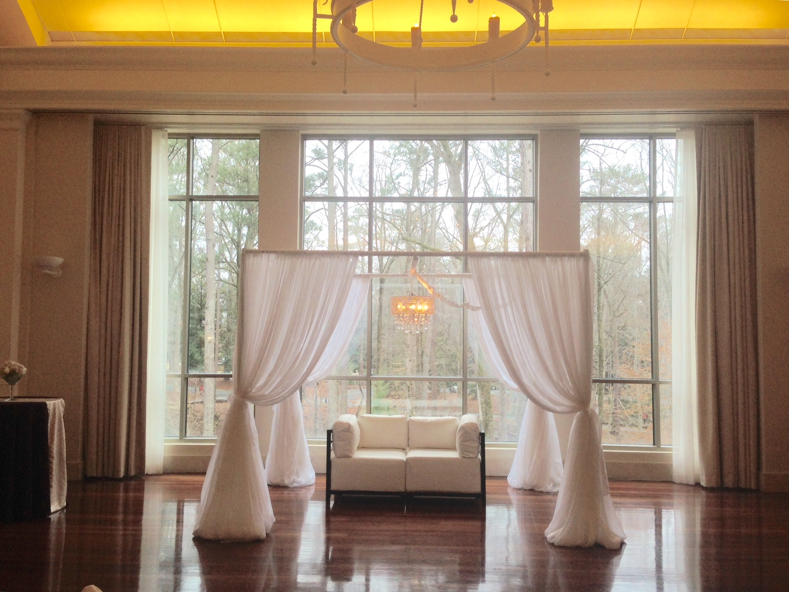 Lounge area - speciality draping with Rhinestone Chandelier