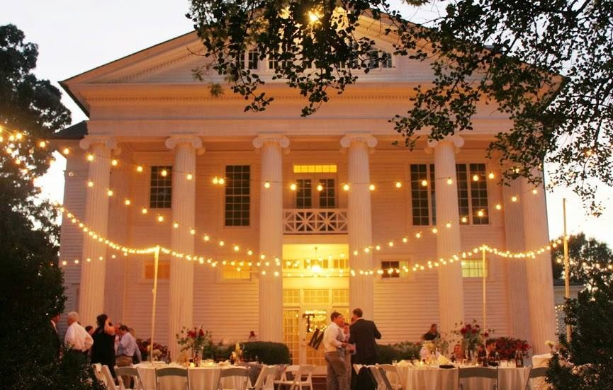 Cafe lighting for reception at Oak Hill in Rome, GA
