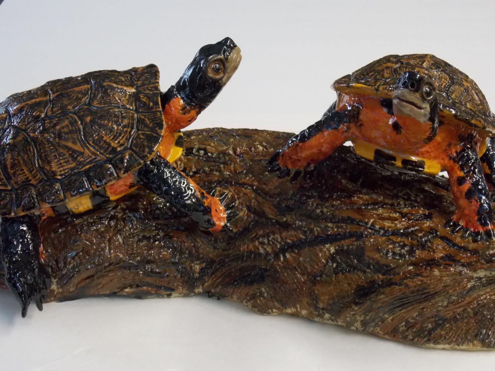 Wood_Turtles_on_log__Muhich_2015__cone_6_ceramic__21_x_9_x_8_inches.JPG