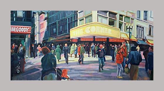 "Downtown Crossing    48"" x 24""   Oil on canvas"