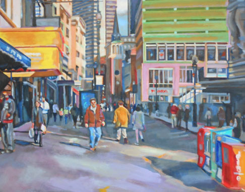 "Downtown Crossing 3   23"" x 28""   Oil on canvas"