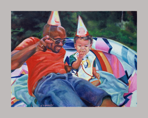 "Pool Party   26"" x 30""   Oil on canvas"
