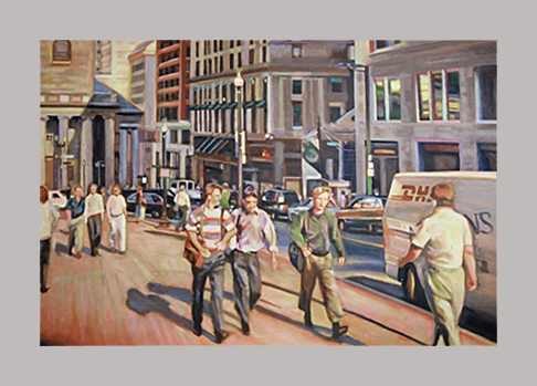 "Tremont Street Strut   24"" x 36""   Oil on canvas"