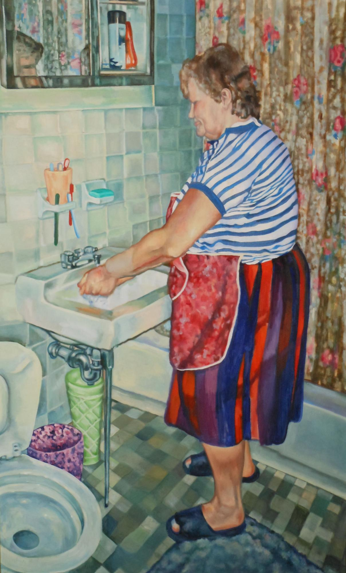 "Washing Up    60"" x 36""   Oil on canvas"