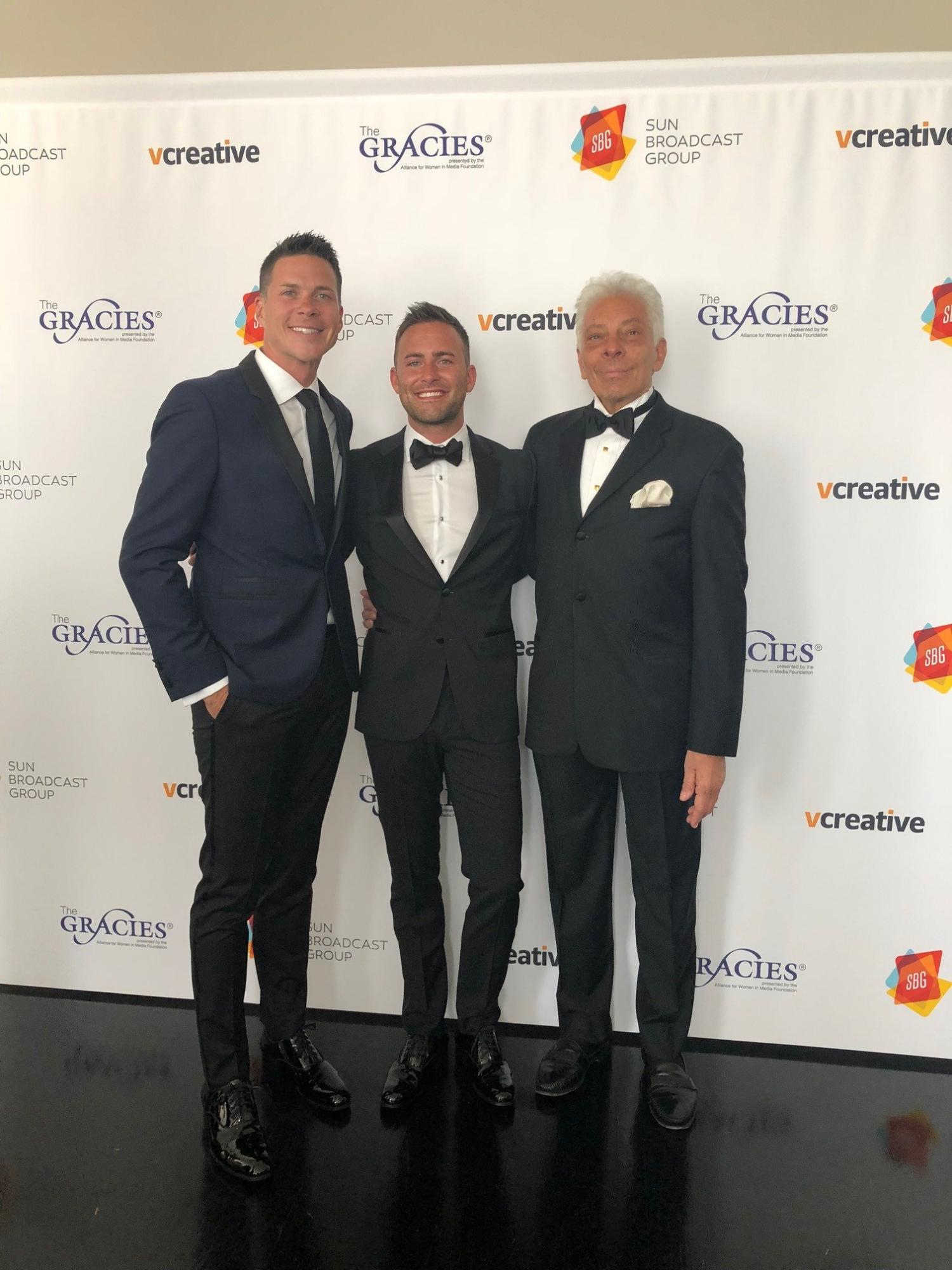 Sunbroadcast's Jay and Kris Bailey with Mike McVay at the Gracies Gala (2018)