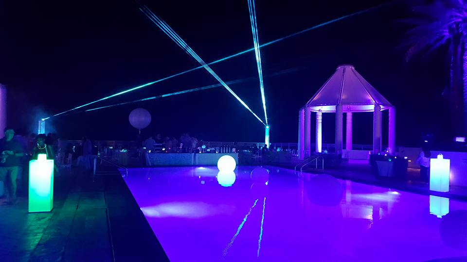 Outdoor Laser show by the pool at the Diplomat Hotel Hallandale