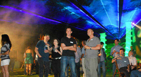 Outdoor laser light effects for special events by United Lasers Miami