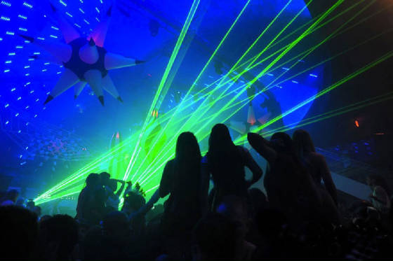 Lasers at Club LIV Miami by united Laser for David Guetta Show